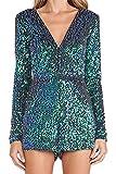 SZIVYSHI Blauer Paillette Plunge Ausschnitt Lange Hülsen Bodysuit der Frauen S