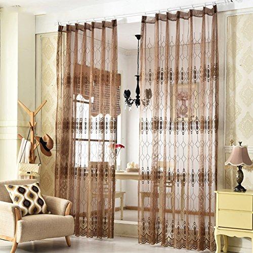 Gardinen,Balkon abgeschnitten weiße Vorhänge Schlafzimmer Wohnzimmer Garten Blumen drapiert-E 130x150cm(51x59inch) (Drapierte Krawatte)