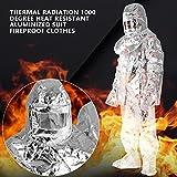 Strahlungsanzug Wärmestrahlung 1000 Grad hitzebeständiger aluminisierter Anzug feuerfeste Kleidung Mit starker Zugfestigkeit, Reißfestigkeit, Abriebfestigkeit Test
