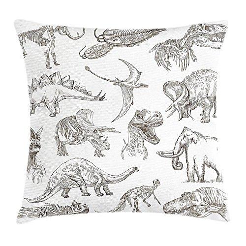 fringcoook Funda de cojín con diseño de dinosaurios de diferentes ilustraciones, diseño de esqueleto de biología, decorativa, cuadrada, 45,7 x 45,7 cm, color marrón oscuro y blanco