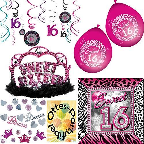 HHO 16. Geburtstag Party-Set 16 Jahre Sweet 16 Deko-Set 42tlg. Servietten + Konfetti 34g + Luftballons + Dekowirbel + Krone