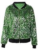 PrettyGuide Damen Pailletten Blazer Langarm-Clubwear Spaworkly Bomberjacke M / US4-6 Grün