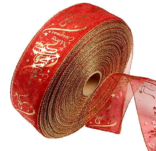 Hosaire 1x Rollen Band Weihnachtsbaum Hochzeit Party Dekoband Ribbon DIY Scrapbook Haus Deko (Rot Ribbon Wired)