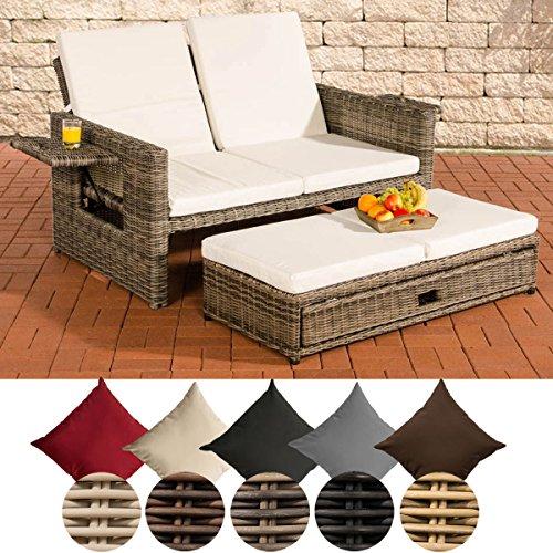 CLP flexibles Poly-Rattan 2er Lounge-Sofa ANCONA, ALU-Gestell, ausziehbares Fußteil, 7 Farben + 3...