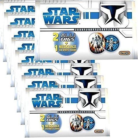 9 Piezas Bolsa Multiuso Star Wars Clone Wars Collar Pulsera Aluminio Día Placas Regalo