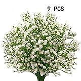 Houda, 9 gambi artificiali di fiori di gipsofila, per decorazioni e bouquet nuziali White