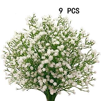 Houda – 9 unidades de flores artificiales de paniculata («Gypsophila»), plantas, ramos de boda, manualidades caseras, decoración