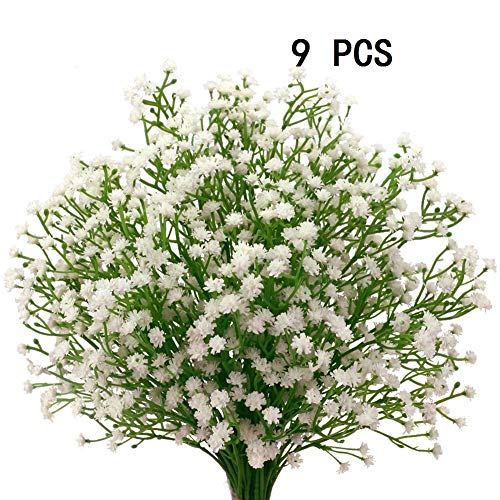 Houda 9 PCS Artificial Fake Baby Breath Flowers Lilies Plants Wedding Flower Bouquets Home DIY Decor
