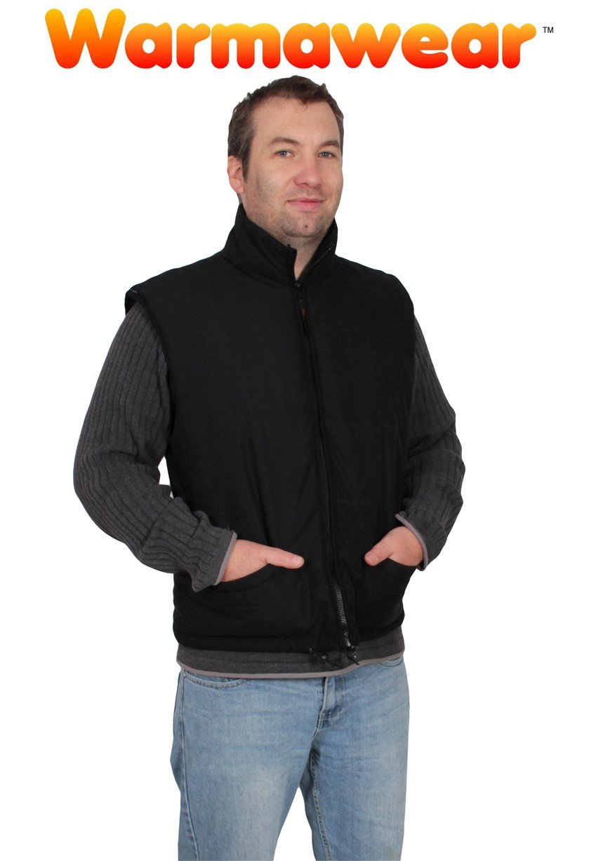 61luAPDa9QL - Warmawear Men's Battery Heated Waistcoat Jacket with Collar (S/M) Black