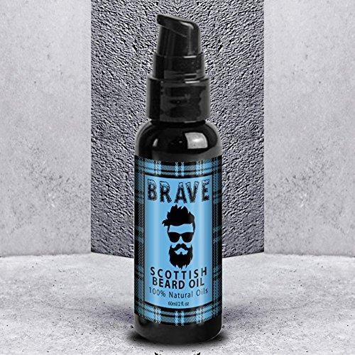 BRAVE Bartöl – The Original Scottish Beard Oil – Natürliche Bartpflege & Frischer Duft, Bartöl mit Weichmacher Wirkung 60ml