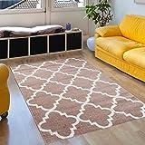 Tapiso SARI Teppich Kurzflor | Designer Teppiche in Beige Weiss mit Geometrisch Marokkanisch Muster | Perfekt für Wohnzimmer, Gästezimmer, Jugendzimmer | ÖKOTEX 60 x 100 cm