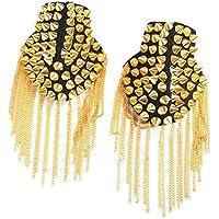 Tinksky Par de remache borla cadena Epaulet moda hombro placas insignia (oro)