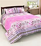 FURHOME PRINTED DOUBLE BED SHEET WITH 2 ...