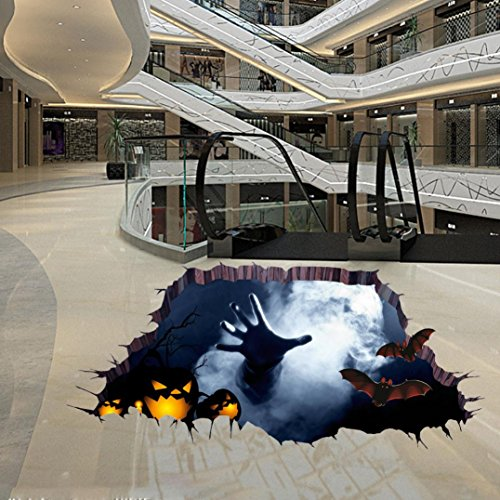 Halloween Aufkleber, HARRYSTORE 3D Glücklicher Halloween Art Wand Aufkleber Terror Fußboden Aufkleber Wand Dekor Entfernbares Abziehbild