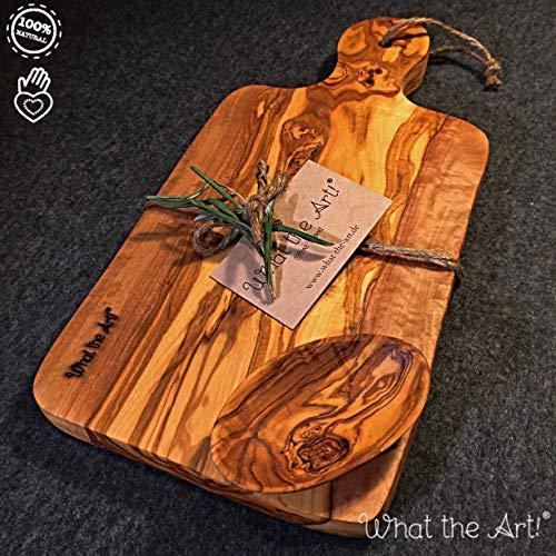 What the Art! Olive Wood | Olivenholzbrett inkl. Schälchen + Geschenk | Gr. L | 30cm x 15cm x ca. 2cm | Schneidebrett - Käsebrett - Servierbrett - Brotzeitbrett - Kräuterbrett - Vesperbrett