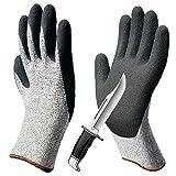 CCBETTER Schnittfest Handschuhe Level 5 Schutz Küche Handschuh und Safty Handschuhe für Schneiden Zum Hand Schutz und Yard-Work (XXL, Grau)