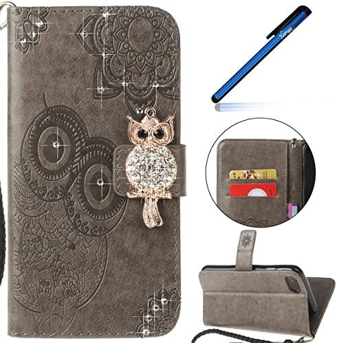 Coque iPhone 8, Étui Housse Étui 8, iPhone 7, Ysimee Apple iPhone 8 Étui en Cuir Case Luxe DiaFemmet Chouette Portefeuille Folio Leather Flip Case Cover Wallet Pouch Protection Coque avec Souple Silicone TPU et Carte de crédit Fonction Suppor a132b1