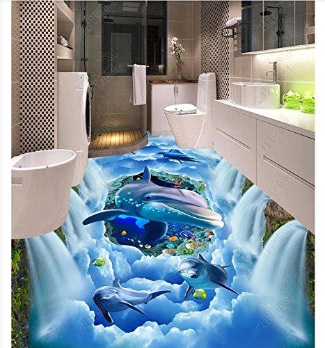 Weaeo Custom Photo Wallpaper 3D Bodenbeläge Selbst - Haftung Wandmalereien Verträumt Cliff Wasserfall Ocean Dolphin Sky Bad Küche 3D-Bodenbeläge-120 X 100 Cm (Blumen Cliff)