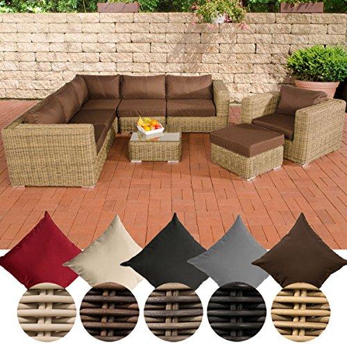 CLP Poly-Rattan Lounge Set ARIANO, 5 mm RUND-Geflecht, Alu-Gestell (5er Sofa + Sessel + Hocker + Tisch + 10 cm Polster) Rattan Farbe natura, Bezugfarbe: Terrabraun