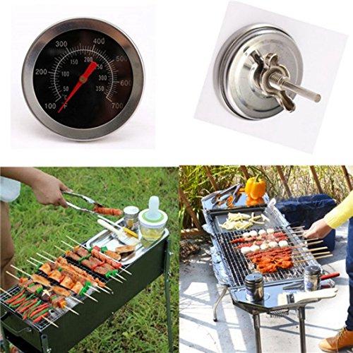 Dailyinshop Barbecue BBQ Grill Thermometer Temperaturanzeige Outdoor Camping Kochen Essen Werkzeug (Farbe: Silber) (Aus Rostfreiem Stahl Dual-bar)