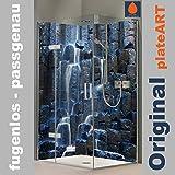 ORIGINAL plateART Eck-Duschrückwand, Rückwand Dusche Alu OHNE FUGEN, Fliesenspiegel, Fliesenersatz, Basalt Prismen Wasserfall-Motiv