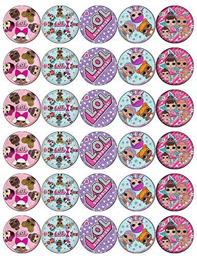 30 LOL Überraschungspuppen Cupcake-Topper, essbares Oblatenpapier, Feen-Design, für Geburtstagskuchen