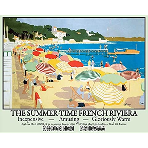 Francés Riviera Playa Junto Al Mar Southern Railway Art Decó el tiempo de verano Vacaciones Anuncio para el hogar, tienda, Café, tienda o pub Metal/Cartel De Acero Para Pared - acero, 15 x 20 cm