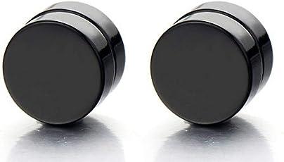 Meenaz Black Metal Round Barbell Magnetic Non -Piercing Stud Earrings For Men And Boys- BALI-M931