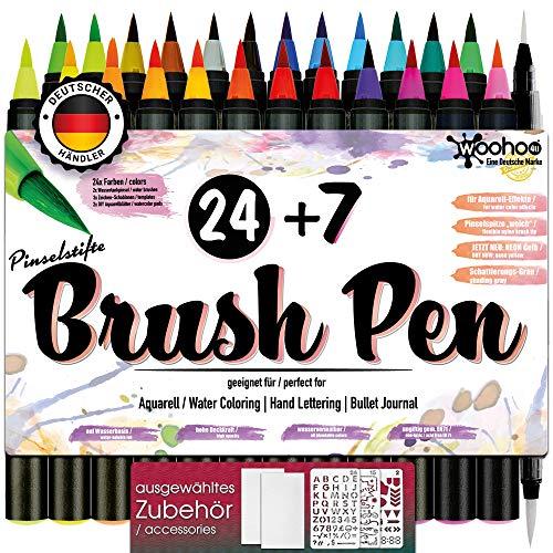 woohoo4u® Brush Pen Set Pinselstifte - [ 24+2+3+2 ] Bullet Journal Zubehör Stifte für Hand-Lettering/Kalligraphie Set Zeichnungen und bildschöne Aquarell/Watercolor Effekte - Stift Echtpinsel-Spitze