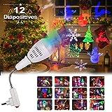 Ampoule Projecteur Noël Led Rotatif 360 degrés, InnooLight E27 Lampe de Projecteur LED convient pour l'interface ampoule E27, 12 diapositive pour Noël, Halloween, Anniversaire, Lune et étoiles motifs