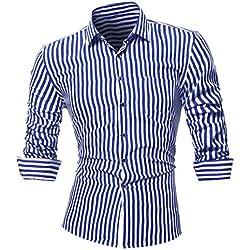 Camisas hombre Rayas de manga larga camiseta de otoño e invierno estilo invierno,YanHoo Mens Casual color manga larga camisa negocio Slim Fit camisa impresa blusa (Azul, L)