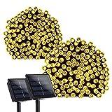 Qedertek Solar Lichterkette (2 Stück) 22m 200er LED 8 Modi Wasserdichte Außenbeleuchtung mit Lichtsensor Dekoration für Party, Haus, Hochzeit, Garten, Weihnachten, Feier, Fest (Warmweiß)