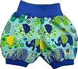 simply-sweet-baby Kurze Babyhose Pumphose Shorts bunte Elefanten mint blaues Bündchen (98)