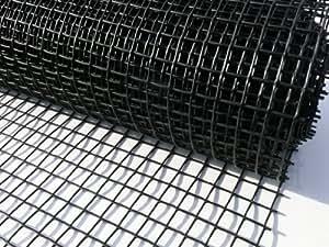 Suregreen Grillage en plastique pour clôture Noir 1 x 10m Trou 25mm