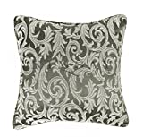 "Nimsay Home Floral Scroll Jacquard Cushion Cover with Filled Inner Pad Sofa Bed Pillow 18""x18"" (45x45cm) - Slate/Grey"