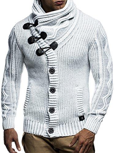 LEIF NELSON Herren Strickjacke Pullover Hoodie Sweatshirt Longsleeve  Winterjacke Pulli Sweater Langarm LN5065N Grau