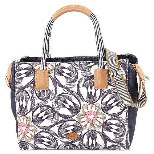 Oilily Damen Handbag Henkeltasche, Grau (Charcoal), 13x23x28 cm (Finden Handtaschen Womens Print)