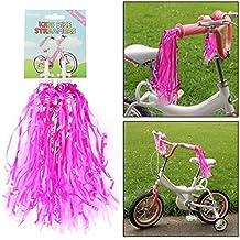 AMOS Paquete de 2 Serpentinas Borlas Cintas Oropel Brillante para Puños Empuñaduras de Manillar de Bicicleta Bici Triciclo Patinete Scooter de Niños Niñas (Rosa)