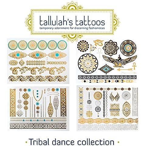 Tatuajes temporales de Tallulah - Tatuajes de Destello Simplemente Impresionantes – Diseños Metálicos a Medida Inspirados de Joyería –De Calidad Excelente y Muy Duraderos (Colección danza tribal)