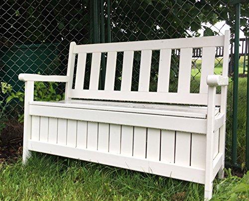 Alta calidad Estable Cojín Caja Banco de madera con baúl, color blanco, B114X T56X H89cm