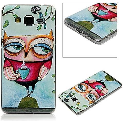 Samsung Galaxy Grand Prime Funda - Lanveni® Chic Elegante Carcasa Rigida PC ultra Slim para Samsung Galaxy Grand Prime SM-G530H G5308W Transparente Protective Case - Patrón búho Diseño