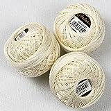 3 er Set ( = 3 Knäuel je 10 g ) Stickgarn / Perlgarn - 100 % Baumwolle , farbecht mercerisiert , - qualitativ hochwertig - perfekt zum Sticken , egal ob Kreuzstich , Stielstich , Spannstich Plattstich oder Nadelmalerei, zum Sofort-Loslegen - aus dem KAMACA-SHOP (Elfenbein)