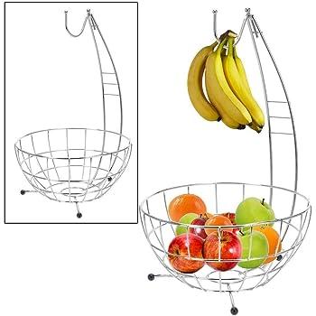 inkl Bananenhalter verchromter Korb f/ür Obst Fr/üchte und Gem/üse Spetebo Obstkorb Metall