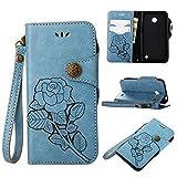pinlu® PU Leder Etui Schutzhülle Für Nokia Lumia 630 Hülle Flip Case Mit Stand Function und Magnetische Schnalle Innenschlitzen Design Retro Rose Muster Blau