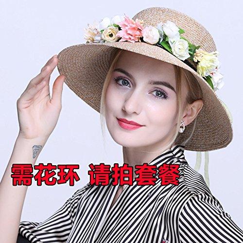 Ombrelloni cappello di paglia donna summer sunscreen stetson hat presso il beach street summer resort spiaggia , fisherman cappelli (55-58cm) , beige