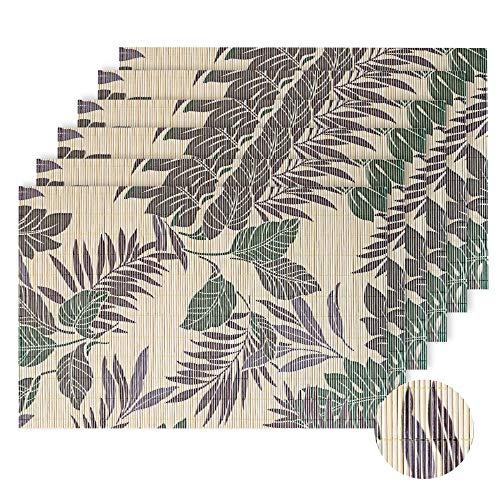 Lovecasa tovagliette americana bambù rettangolo tovagliette da tavola colazione pranzo lavabili, antiscivolo, antimacchia,resistenti al calore, set 6 pezzi tovaglietta, giallo e verde
