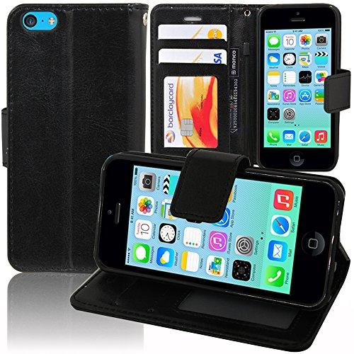 VCOMP® Housse Coque Etui portefeuille Support Video Livre rabat cuir PU pour Apple iPhone 5C - NOIR
