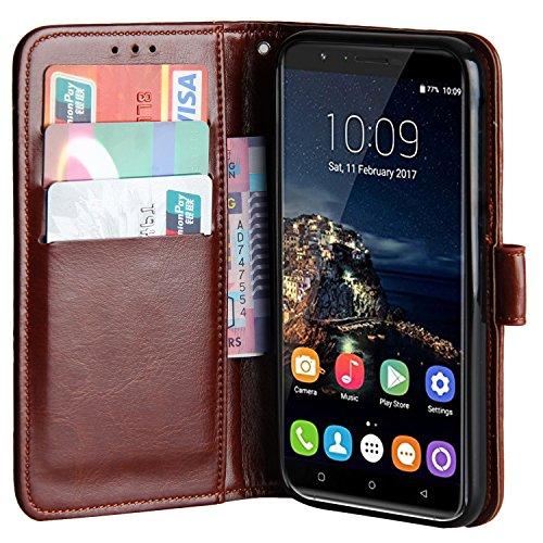 Raiphy Leder Brieftasche Hülle für Oukitel U16 Max,Telefon schützender lederner Fall mit Einem Einbauschlitz und Standfunktion (Braun)