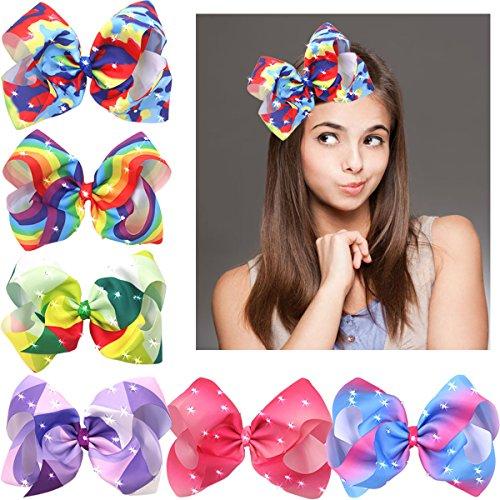 20,3cm Big größere Ripsband Boutique Bling Sparkly Rainbow Haar Bögen Clips für Baby Mädchen Teens Kleinkind Geschenke Set von 6 (Bögen Für Haar-für Teens)