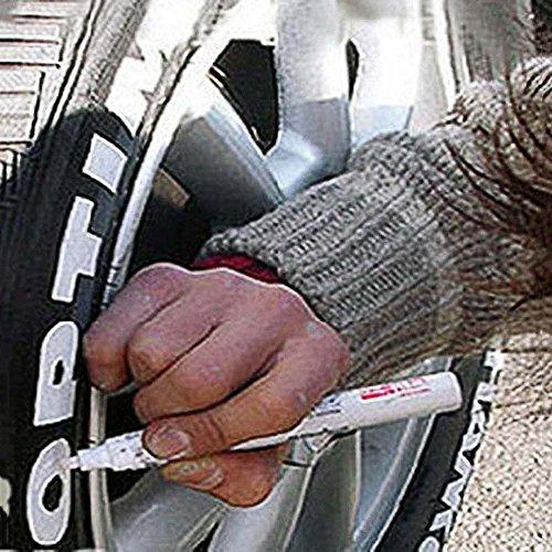 Papamsy - Pennarello per pneumatici auto, camion, moto, 4 colori 14 * 1.4cm bianco